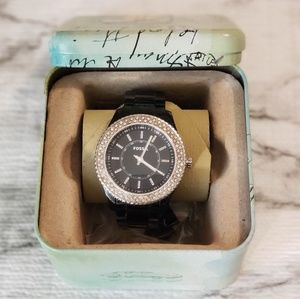 FOSSIL Watch with Silver Rhinestones